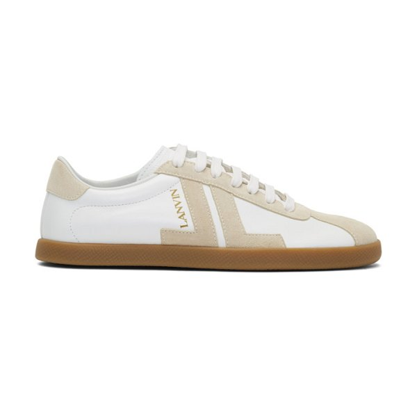 Lanvin white and beige jl sneakers in b001 white