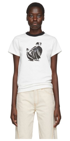 Lanvin white and black printed t-shirt in 00 white