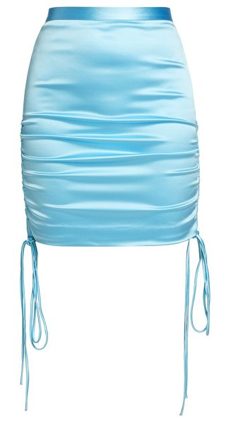 LAQUAN SMITH stretch satin ruched side tie mini skirt in baby blue