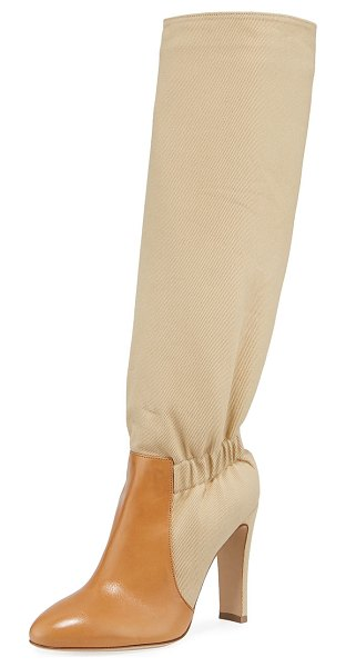 Laurence Dacade Shadia Fabric Over-The-Knee Boots in beige - Laurence Dacade over-the-knee fabric boots with leather...