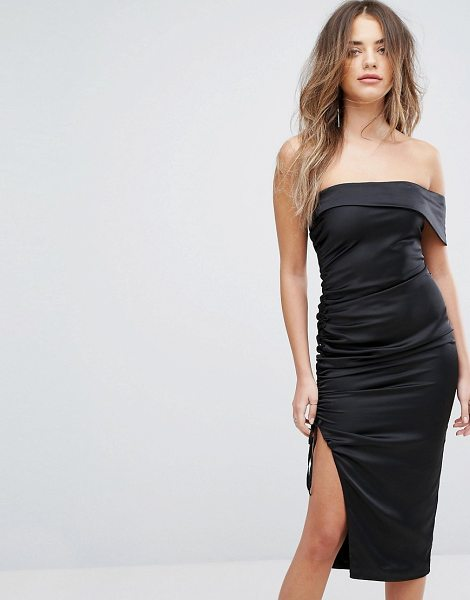 "LAVISH ALICE Satin Ruched Bandeau Midi Dress - """"Midi dress by Lavish Alice, Ruched satin, Bandeau neck,..."