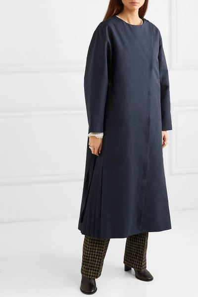 LE 17 SEPTEMBRE pleated woven coat in navy