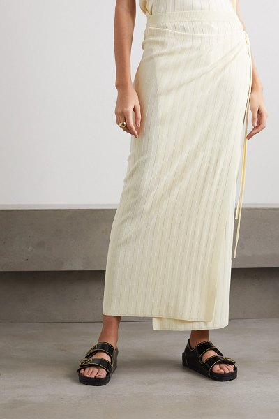 LE 17 SEPTEMBRE ribbed-knit wrap maxi skirt in ecru