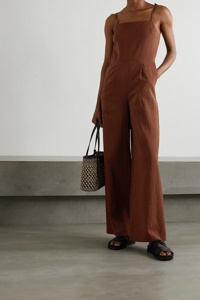 LE 17 SEPTEMBRE tie-detailed crinkled woven jumpsuit in brick