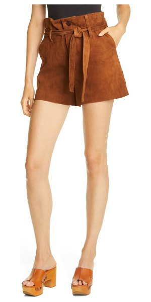 Le Superbe almost famous suede paperbag waist shorts in rustic