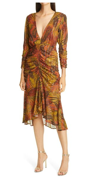 Le Superbe crosby ave ruched midi dress in orange tropical palm