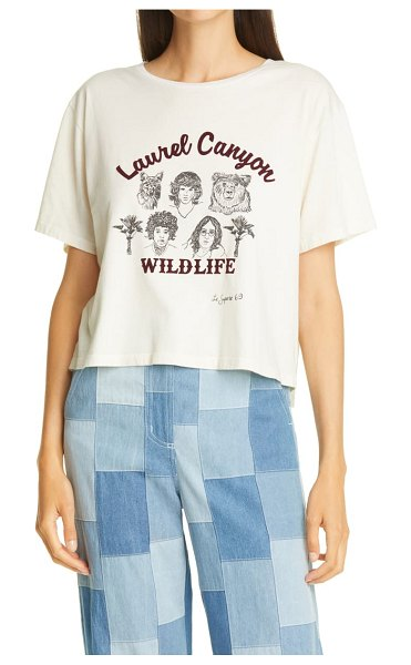 Le Superbe laurel canyon wildlife graphic cotton tee in natural