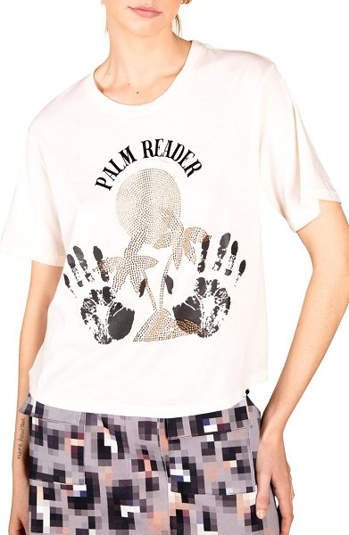 Le Superbe palm reader beaded cotton graphic tee in cream