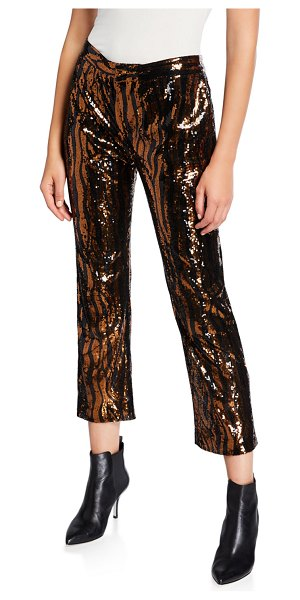 Le Superbe Sequined Animal-Print Chino Pants in animal print