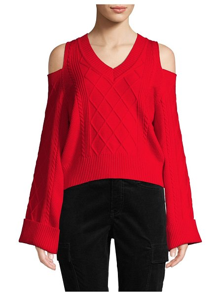 Lea & Viola Cable-Knit Cold-Shoulder Sweater in red