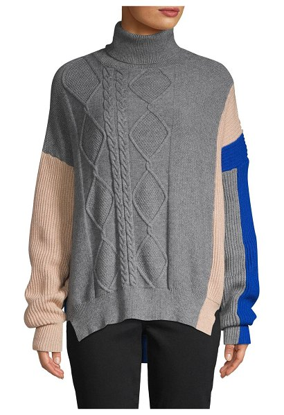 Lea & Viola Cable-Knit Colorblock Sweater in heather grey multi