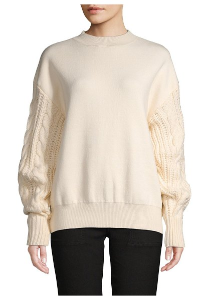 Lea & Viola Cable-Knit Sweater in ivory