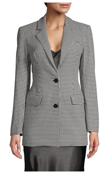 Lea & Viola Houndstooth Notched Jacket in black white