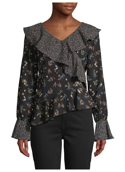 Lea & Viola Mixed-Print Ruffled Top in black multi