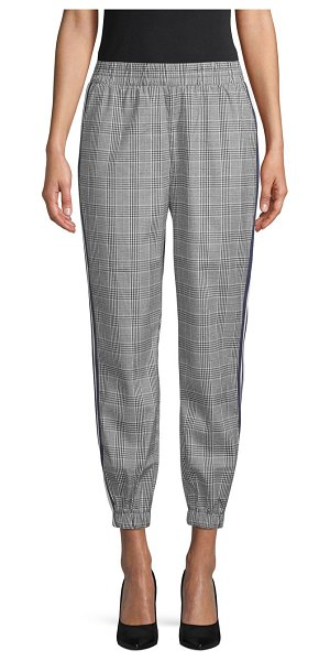 Lea & Viola Plaid Jogger Pants in grey red