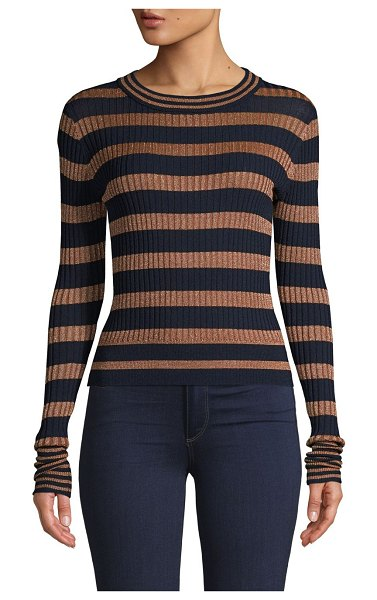 Lea & Viola Textured Striped Sweater in navy gold