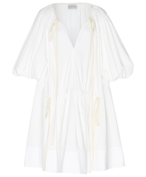 LEE MATHEWS elsie tie-detailed cotton-blend mini dress in ivory