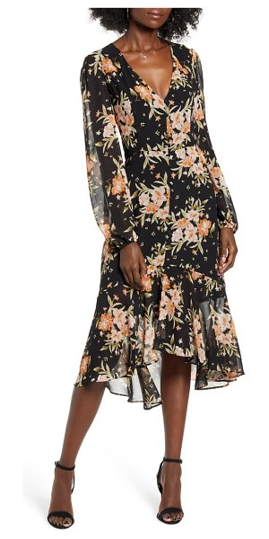 Leith button front midi dress in black blushing floral