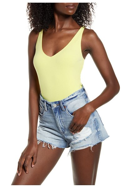Leith double-v bodysuit in yellow light