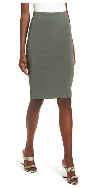 Leith high waist body-con skirt in green thyme
