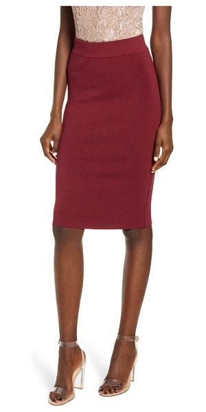 Leith high waist body-con skirt in red cordovan