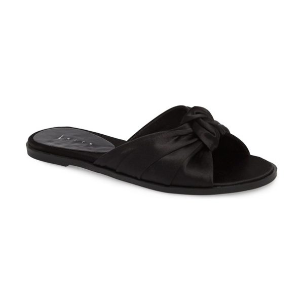 760ac4f655d Leith nevie knotted slide sandal in black satin - A simple knot is on trend  at