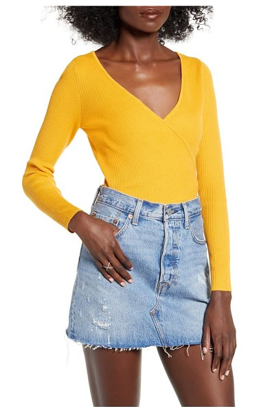 Leith rib wrap sweater in yellow gleam
