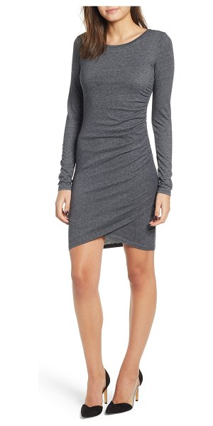 Leith ruched long sleeve dress in grey medium charcoal heather
