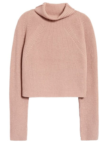 Leith transfer stitch turtleneck sweater in pink adobe