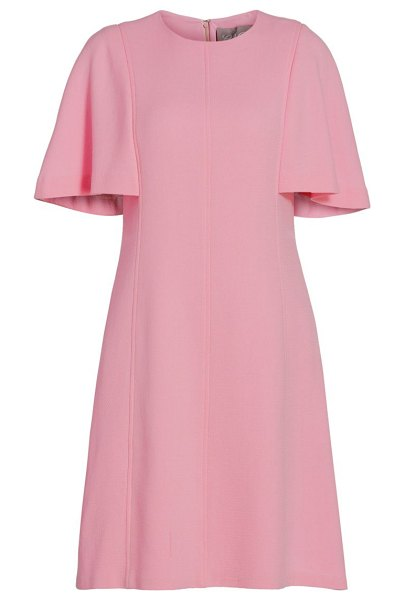 Lela Rose flutter-sleeve crepe tunic dress in ivory,orchid