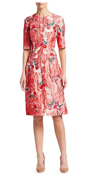 Lela Rose Holly Elbow-Sleeve Floral A-Line Dress in blush multi