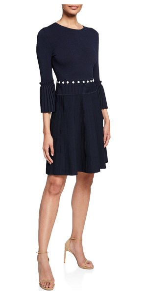 Lela Rose Pleated Dress with Button Details in navy