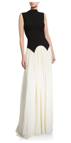 Lela Rose Pleated High-Neck Gown in black/white