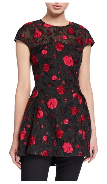 Lela Rose Rose Fil Coupe Cap-Sleeve Blouse in red