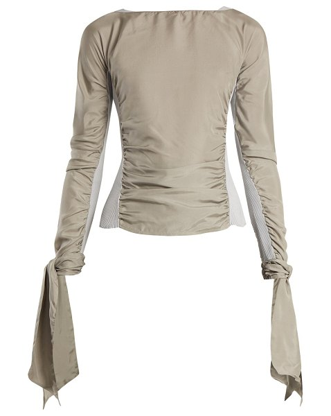 LEMAIRE Contrast Panel Ruched Crepe De Chine Top in grey - Lemaire - Ruched details make a regular appearance...