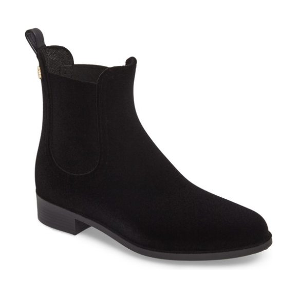 LEMON JELLY velvety waterproof chelsea bootie in black - A lemony scent adds to the fresh feel of this waterproof...