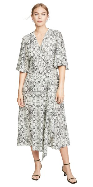 Les Reveries flutter sleeve long wrap dress in python