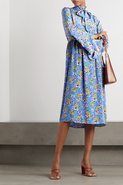 Les Rêveries pussy-bow floral-print silk-crepe midi dress in blue