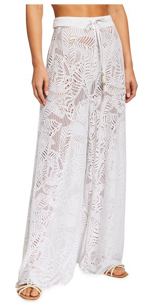 Letarte Cape Cod Palm Lace Wide-Leg Coverup Pant in white