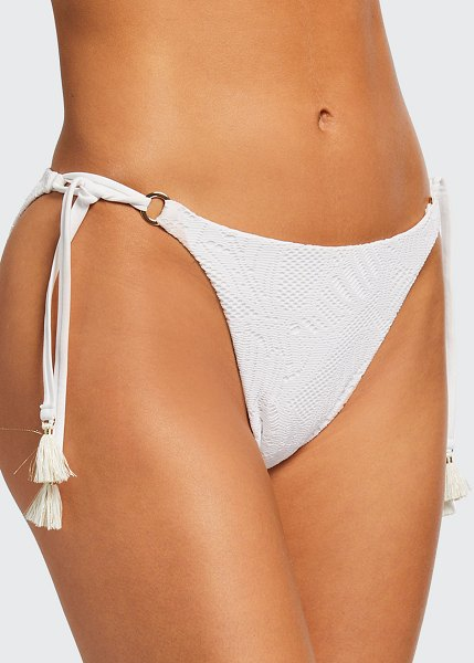 Letarte Malibu Palm Lace String Bikini Bottom in white