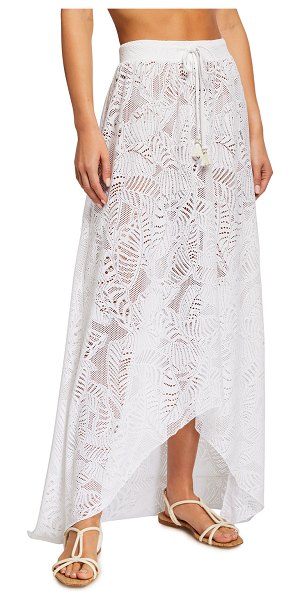 Letarte Newport Embroidered Lace Coverup Skirt in white