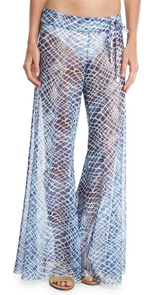 Letarte Printed Flared Sheer Mesh Pants in blue - Letarte coverup pants in printed sheer mesh. Wide...