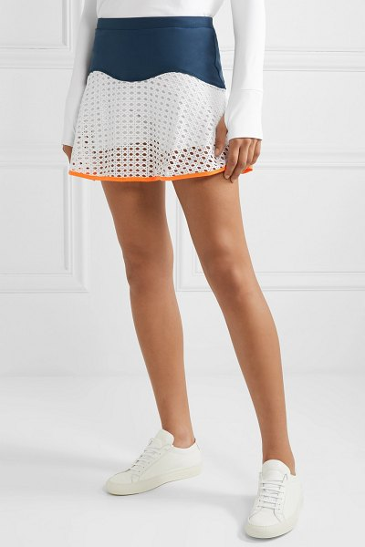 L'Etoile Sport stretch-jersey and pointelle-knit tennis skirt in white - L'Etoile Sport's tennis skirt is trimmed with a...