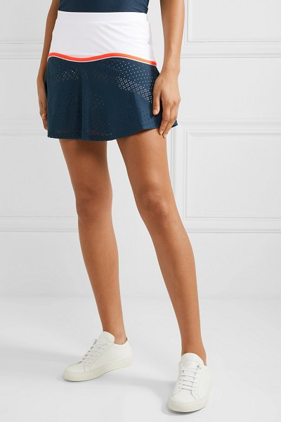 L'Etoile Sport stretch-jersey and pointelle-knit tennis skirt in cobalt blue