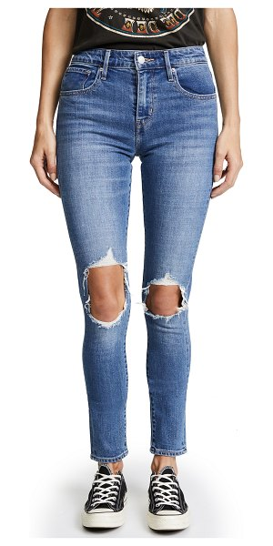 Levi's 721 high rise distressed skinny jeans in rugged indigo