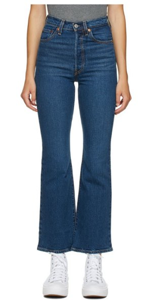 Levis blue ribcage bootcut jeans in turn up