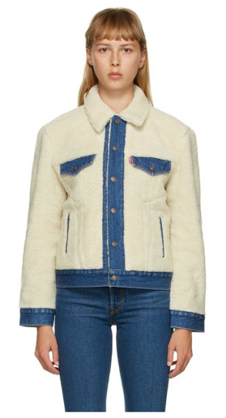 Levis off-white and blue sherpa ex-boyfriend trucker jacket in counting sh