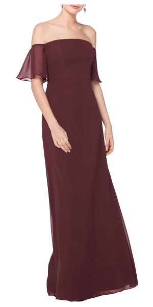Levkoff # off the shoulder fluted sleeve chiffon gown in burgundy - Framed by sheer and floaty fluted sleeves, this chiffon...