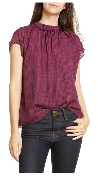 LEWIT gathered silk top in purple nectar