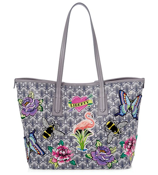Liberty London Marlborough Iphis All Over Patches Tote Bag in gray